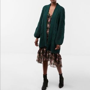 Balloon Sleeve Matte Chenille Cable Knit Cover-Up